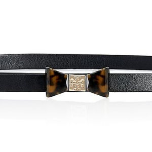 Tory Burch Belt Leather/ Tortoise Bow Tie SIZE M/L